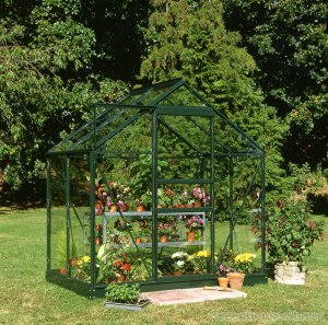 Halls Popular 6x4 green greenhouse horticultural greenhousestores
