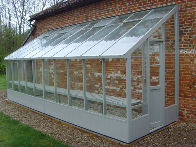 swallow dove 6x20 lean to greenhouse with custom paint